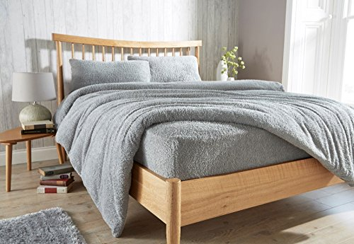 Gaveno Cavailia Teddy Fleece Luxurious Super Soft Warm and Cosy Fitted Bed Sheet (Silver, King Matching Fitted Sheet) from Gaveno Cavailia