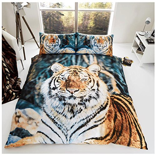 Gaveno Cavailia 3D WILDLIFE BROWN TIGER Bed Set with Duvet Cover and Pillow Case, Polyester-Cotton, Multi, King from Gaveno Cavailia