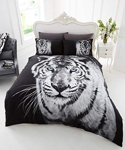 Gaveno Cavailia 3D WILDLIFE WHITE TIGER Bed Set with Duvet Cover and Pillow Case, Polyester-Cotton, Multi, Double from GAVENO CAVAILIA