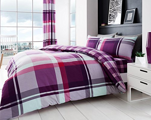 Gaveno Cavailia Waverly Check Luxurious Duvet Cover Sets Quilt Cover Sets Reversible Bedding Sets with Pillowcases (Purple, Double) from Gaveno Cavailia