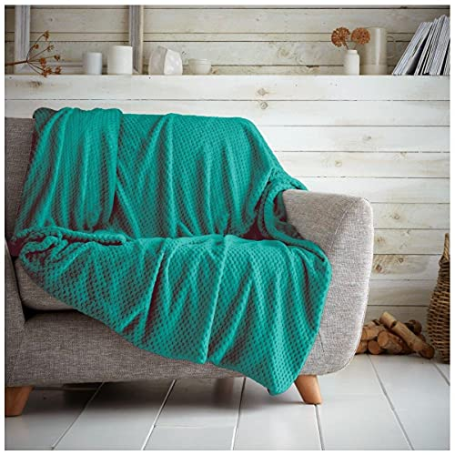 Gaveno Cavailia Cosy and Cuddly POPCORN Fleece Throw Blanket, 150 x 200 Cm, Polyester, Double, Teal from Gaveno Cavailia