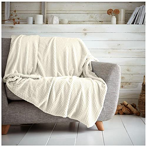 Gaveno Cavailia Cosy and Cuddly POPCORN Fleece Throw Blanket, 200 x 240 Cm, Polyester, King, Cream from GAVENO CAVAILIA