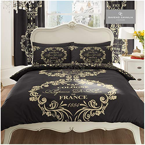 Gaveno Cavailia Luxurious SCRIPT PARIS Bed Set With Duvet Cover and Pillow Case, Polyester-Cotton, Black , King from Gaveno Cavailia