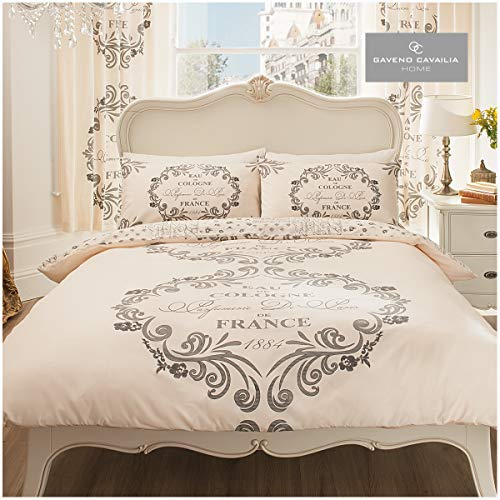 Gaveno Cavailia Luxurious SCRIPT PARIS Bed Set With Duvet Cover and Pillow Case, Polyester-Cotton, Cream , Single from GAVENO CAVAILIA