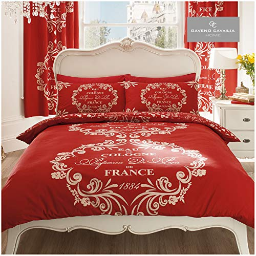 Gaveno Cavailia Luxurious SCRIPT PARIS Bed Set With Duvet Cover and Pillow Case, Polyester-Cotton, Red , Double from Gaveno Cavailia