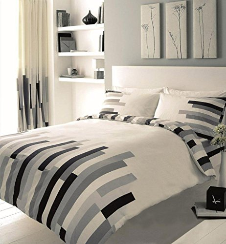 Gaveno Cavailia Luxury BLOCKS Bed Set With Duvet Cover and Pillow Case, Cream/Grey/Black, Polyester-Cotton,Single from GAVENO CAVAILIA