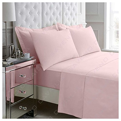 Gaveno Cavailia Luxury Non-Iron PERCALE FITTED Sheet, Poly-Cotton, Pink , Double from GAVENO CAVAILIA