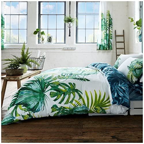 Gaveno Cavailia Luxury TROPICAL LEAF Bed Set with Duvet Cover and Pillow Case, Polyester-Cotton, Green, Double from Gaveno Cavailia