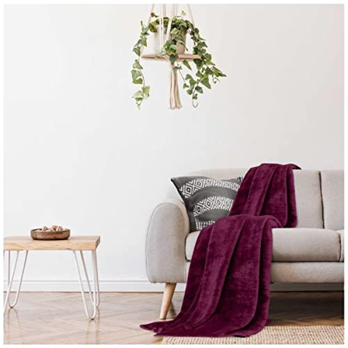 Gaveno Cavailia Super Soft Faux Fur Fleece Plain Throw Blanket, Burgundy, King, 200 x 240 cm from Gaveno Cavailia