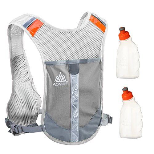 Geila Outdoors Sport Marathoner Race Hydration Pack Hydration Vest Backpack with 2 Water Bottles for Trailrunning, Marathon (Gray) from Geila