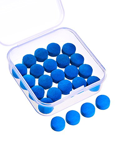 Gejoy 20 Pieces Cue Tips 10 mm Pool Billiard Replacement Tips with Storage Box for Pool Cues and Snooker, Blue from Gejoy