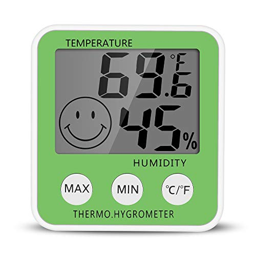 Gellvann Digital LCD Indoor Humidity Meter Thermometer Digital Hygrometer Thermometer Room Thermometer with Stander & Fridges Mount Magnets for Humidifiers Dehumidifiers Greenhouse Basement Babyroom (Green) from Gellvann