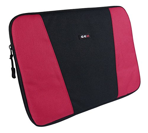 GEM Slim Protective Sleeve for Chromebooks, Netbooks and Laptops up to 13.3 inch - High Density Padding for a Slim Line Design (HP ENVY 13-d004na Laptop, Red and Black) from Gem