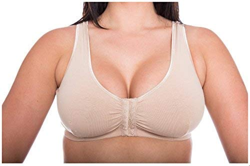 GEMM Cotton Lycra Non Wired Front Fastening Bra in Black-White-Nude-Floral Sizes 34B to 48DD from Gem