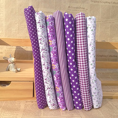 Gemini_mall® 7pcs 25cm*25cm Cotton Craft Fabric Bundle Squares Patchwork Lint DIY Sewing Scrapbooking Quilting Floral Dot Pattern Artcraft (Purple) from Gemini_mall