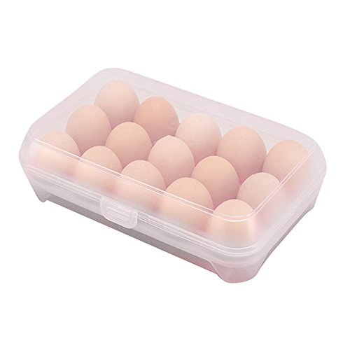 Gemini_mall® Kitchen Plastic Egg Holder Trays, 15 Eggs Storage Box,Non Slip Eggs Carrier Container for Refrigerator (Clear - holds 15 eggs) from Gemini_mall