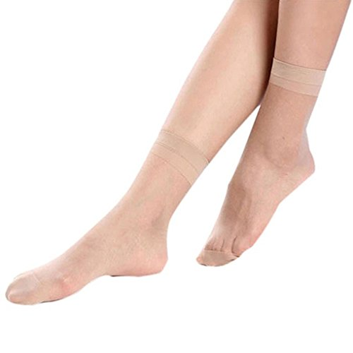 Gemini_mall® 10 Pairs Ladies Soft, Sheer & Durable Smooth Everyday Anklets Ankle Socks (Nude) from Gemini_mall