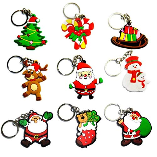 Gemini_mall® 10pcs Christmas Ornaments Santa Claus Pendant Keyrings Snowman Christmas Tree Keychains Handbag Charms Party Favours Party Bag Fillers Xmas Gifts (10pcs (Random Pattern)) from Gemini_mall