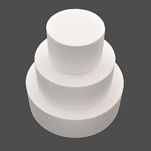 "Gemini_mall® 3pcs Round Polystyrene Straight Edge Cake Dummies in sizes 4"", 6"", 8"" (White) from Gemini_mall"