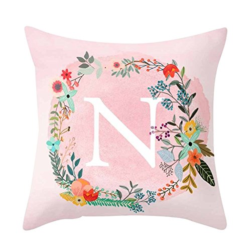 Gemini_mall® Alphabet Letter Flower Pink Throw Pillow Case Cushion Cover Sofa Bed Home Car Decor, Letter N from Gemini_mall