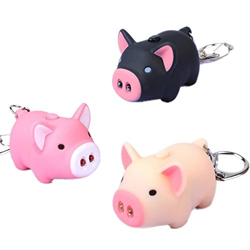 Gemini_mall® Cute Pig Keyring Keychain LED Light Touch with Sound Car Bag Pendant Charm Decoration Gift, 3pcs from Gemini_mall