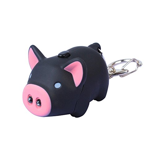Gemini_mall® Cute Pig Keyring Keychain LED Light Touch with Sound Car Bag Pendant Charm Decoration Gift (Black) from Gemini_mall