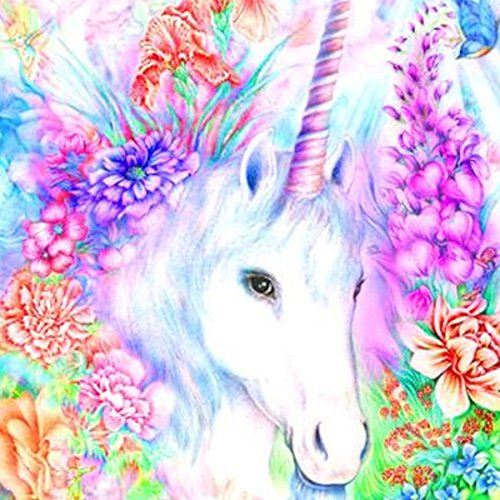 Gemini_mall® DIY 5D Diamond Painting by Number Kits, Crystal Rhinestone Diamond Embroidery Paintings Pictures Arts Craft for Home Wall Decor,White Unicorn from Gemini_mall