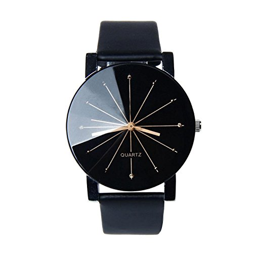 Gemini_mall® Fashion Men Quartz Dial Clock Leather Wrist Watch (Men, Black) from Gemini_mall