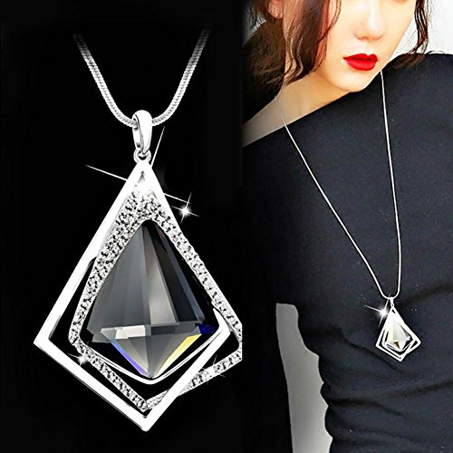 Gemini_mall® Fashion Sweater Chain Diamond Pendant Necklace Long Jewelry for Women Jewelry Gift (Grey) from Gemini_mall