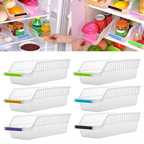 Gemini_mall® Kitchen Refrigerator Organizer Space Saver Slide Under Shelf Rack Holder Freezer Storage Box Basket Container (Pack of 1, Random Color) from Gemini_mall