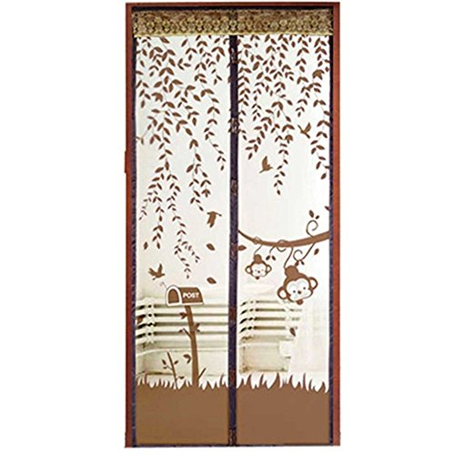 Gemini_mall® Magnetic Flying Insect Door Screen Mesh Curtain Mosquito Net (90cm x 210cm, Brown) from Gemini_mall