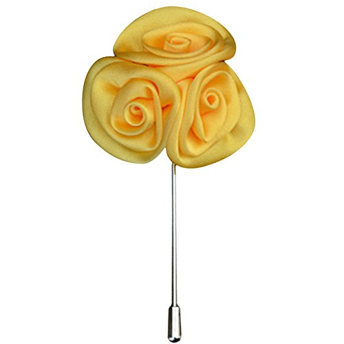 Gemini_mall® Men's Suit Boutonniere Lapel Pin Rose Flower Brooch (Yellow) from Gemini_mall