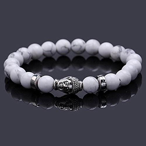 Gemini_mall® Natural Stone Bracelet 8MM Stones Charms Bracelet for Women and Men Buddha Buddhist prayer Reiki Energy Healing Stones Beads Necklace (White) from Gemini_mall