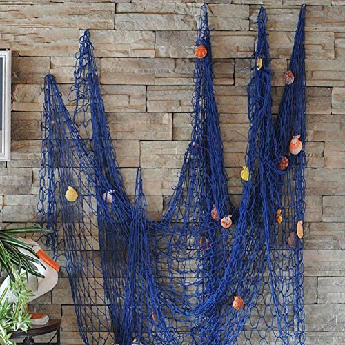 Gemini_mall® Nautical Fish Net with Sea Shells Mediterranean Style for Home Decoration Blue,2x1 Meter (100cm x 200cm, Blue) from Gemini_mall