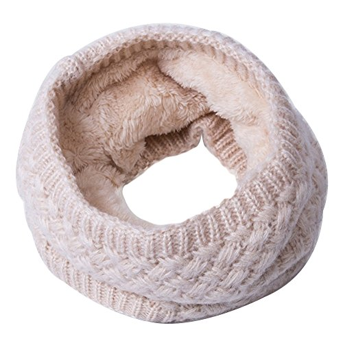 Gemini_mall® Winter knitted Snood Scarf Loop Infinity fur Neckerchief Neck Warmer Wrap Scarves Beige from Gemini_mall