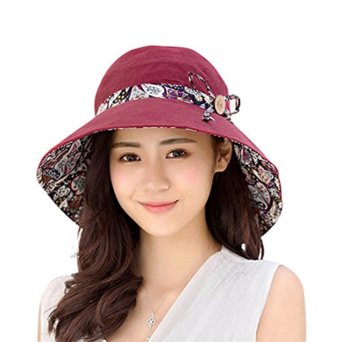 Gemini_mall® Womens Sun Hat Hindawi Summer Reversible UPF 50+ Beach Hat Foldable Wide Brim Cap Packable Wine Red from Gemini_mall