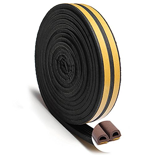 Gemini_mall Rubber Seal Weather Strip Foam Tape - D-Shaped EPDM Foam Seal, Door Window Anti-Collision Self-Adhesive Rubber High Strength Tape System, Soundproofing Draft Stopper from Gemini_mall