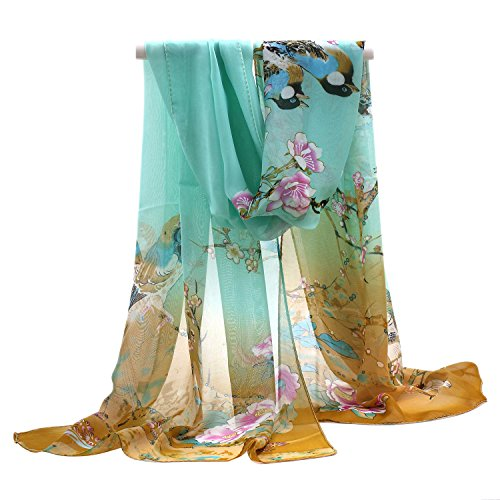 Gemini_mall Womens Lady Flower Printed Soft Chiffon Scarf Stole Scrawl Wrap Yellow/Green from Gemini_mall