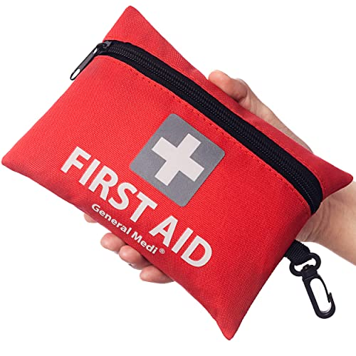 Mini First Aid Kit,92 Pieces Small First Aid Kit - Includes Emergency Foil Blanket,CPR Face Mask,Scissors for Travel, Home, Office, Vehicle,Camping, Workplace & Outdoor (Red) from General Medi