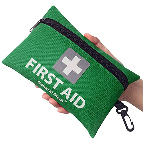 Mini First Aid Kit,92 Pieces Small First Aid Kit - Includes Emergency Foil Blanket,CPR Face Mask,Scissors for Travel, Home, Office, Vehicle,Camping, Workplace & Outdoor (Green) from General Medi