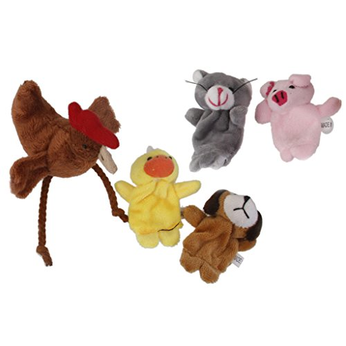 MagiDeal 5pcs Soft Plush Cartoon Finger Puppet Set - Five Animals from MagiDeal