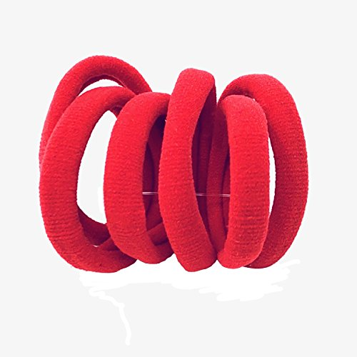 6 Pack HAIR BOBBLES ELASTICS Jersey Fabric NO METAL SNAG FREE Children 8 Colours (Red) from Unknown