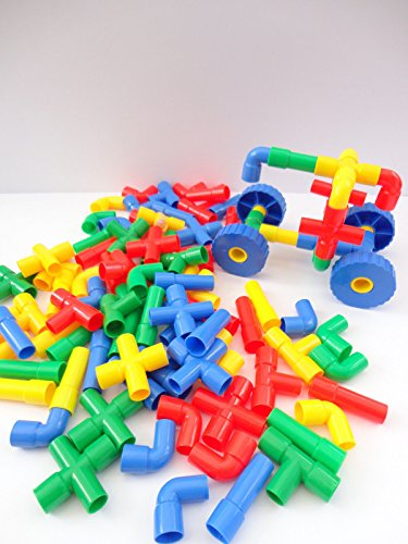 60 Pipe Pieces & 4 Wheels - Building Construction Toy Game Play & Discover Kids from Generic
