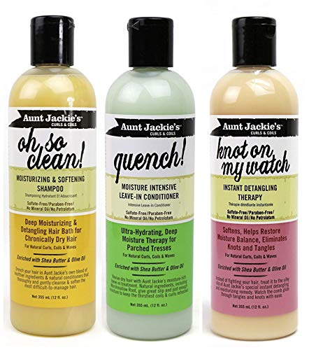 Aunt Jackies Curls & Coils TRIO BUNDLE |Oh so Clean Shampoo 355ml | Quench Moisture Intensive Leave In Conditioner 355 ml | Knot On My Watch Detangler 355ml from Generic