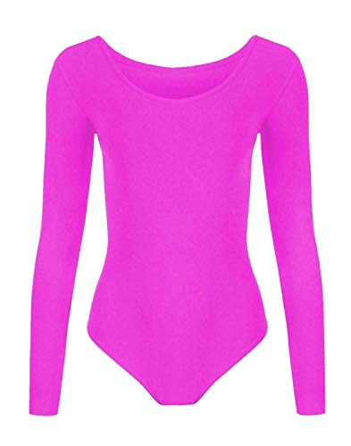 GIRLS LYCRA STRETCH LEOTARDS KIDS SCHOOL PE BALLET DANCE GYMNASTICS FULL SLEEVES[Neon Pink,3-4 years] from Generic