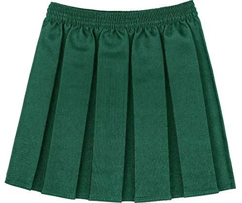 Girls Kids School Uniform Box Pleated Elasticated Waist Skirt Age 2-18 Years[Bottle Green,4-5 Year] from Generic