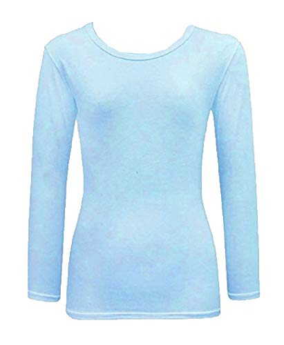 Kids Plain Basic Top Long Sleeve Girls Boys Uniform T-Shirt Tops 2-13 Years (11-12 Years, Sky Blue) from Generic
