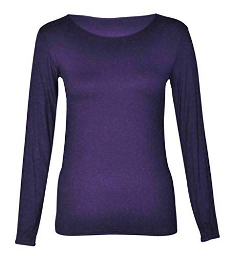 Kids Plain Basic Top Long Sleeve Girls Boys Uniform T-Shirt Tops 2-13 Years (13 Years, Purple) from Generic