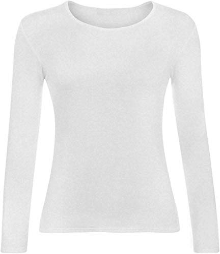 Kids Plain Basic Top Long Sleeve Girls Boys Uniform T-Shirt Tops 2-13 Years (4-5 Years, White) from Generic