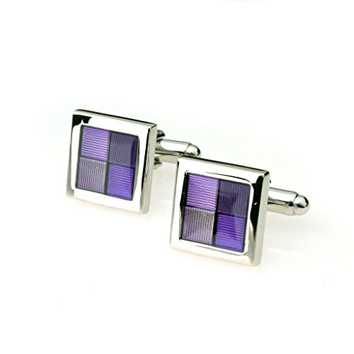 Mens Business Suit Shirt Square Cuff Links Cufflinks Silver Purple from Generic